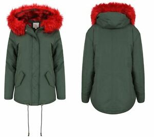Womens-Padded-Lined-Parka-Red-Faux-Fur-Trim-Hooded-Thick-Warm-Winter-Jacket-Coat
