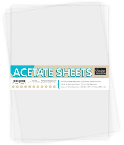 Couture Creations /'ACETATE SHEETS/' A4 210x297m 50pk Clear 0.25mm Thickness