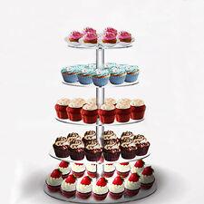 5 Tier Clear Acrylic Round Cupcake Stand Birthday Wedding Cake Display Tower USA
