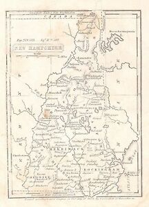Original 1836 PreCivil War Antique Map NEW HAMPSHIRE Nashua Dover