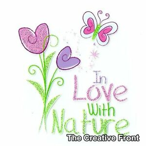 In-Love-With-Nature-Flowers-Iron-On-Glitter-T-Shirt-Heat-Transfer-NEW