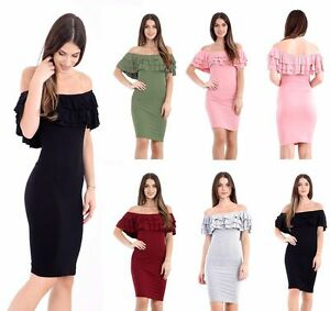 Women-Frill-Off-Shoulder-Bardot-Midi-Dress-Ladies-Peplum-Ruffle-Bodycon-Top-8-14