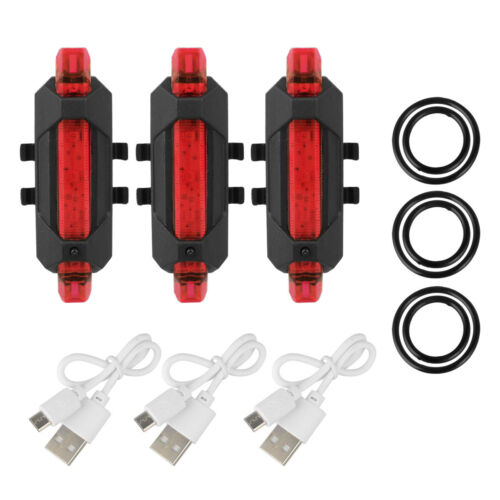 3x LED USB Rechargeable Bike Tail Light Bicycle Safety Cycling Warning Rear US