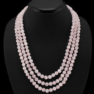 BUYERS-FAVOURITE-519-00-CTS-NATURAL-3-LINE-PINK-ROSE-QUARTZ-ROUND-BEADS-NECKLACE
