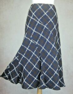 Per Una M&S Navy Blue Check Lined Skirt Size UK 16 S Marks and Spencer Wool