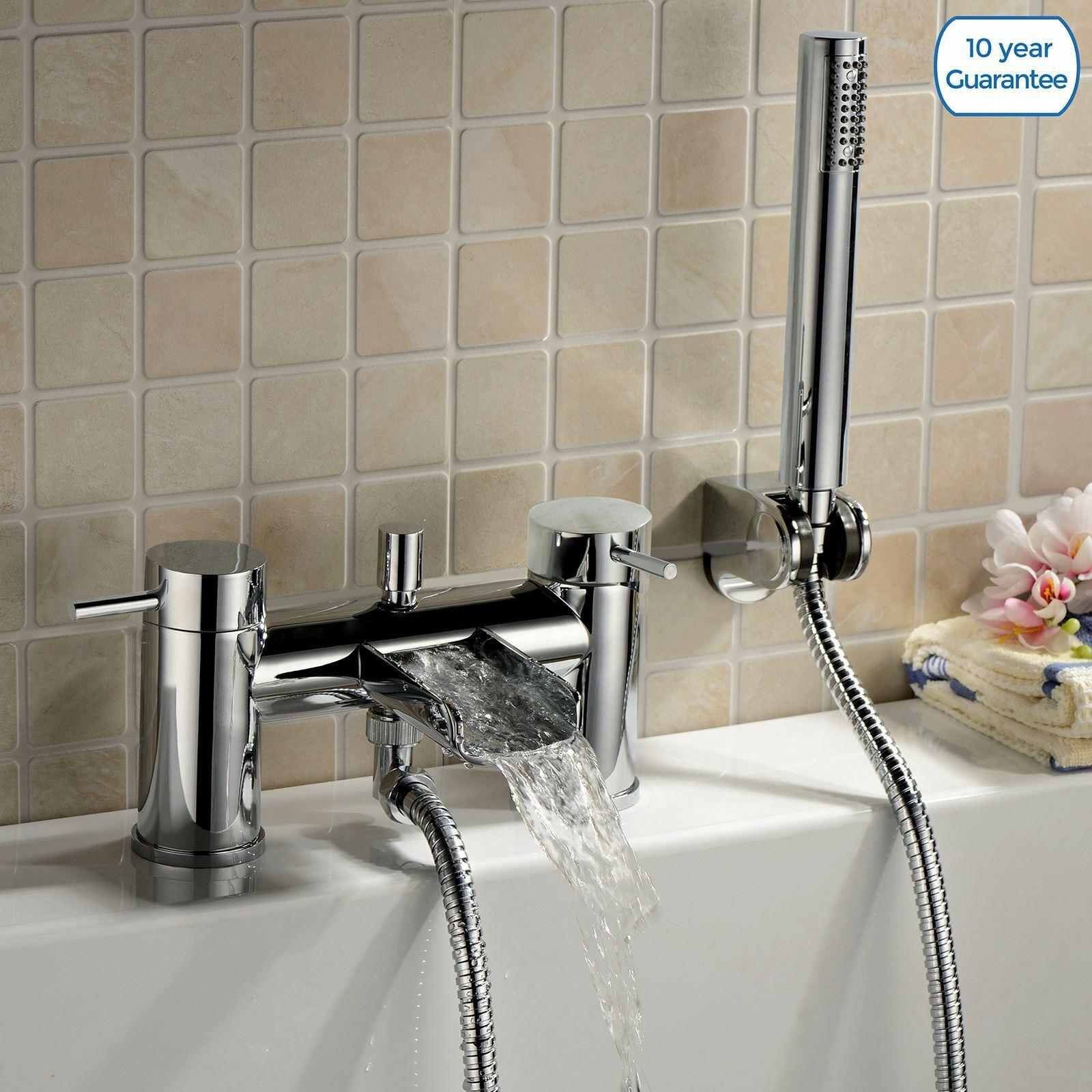 Albie Cuarto de Baño Cromo Cascada Baño Mezclador De Ducha Moderna De Relleno Grifo Con Auricular