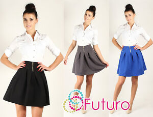 Womens Skirt With Zipper Skater Style Soft Fabric Formal Elegant Uk Stock Fa227 Reine WeißE Kleidung & Accessoires