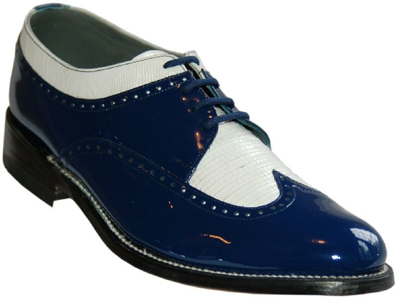 Mens bluee and White Formal Spectators Wingtip shoes