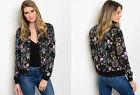 S-L Womens Black FLORAL Bomber Jacket Chic Boho Asian Satin Zip Up Vintage Style