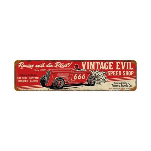 VINTAGE STYLE METAL SIGN Vintage Evil Racing Devil  20 x 5