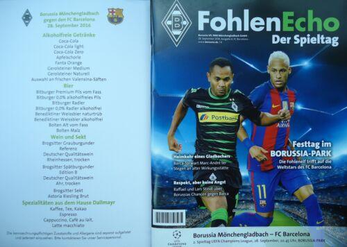 FC Barcelona Programm /& Menü UEFA CL 2016//17 Mönchengladbach