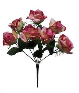 7 CREAM MAUVE Open Roses Soft Touch Silk Wedding Bouquet Flowers Centerpieces