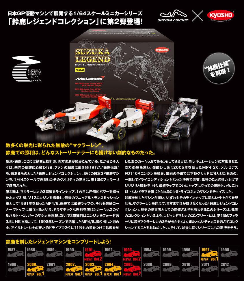 Kyosho 1 64 McLaren 3SET  MP4 6 NO.2Berger  MP4 8  Senna MP4-20 No.9 Raikkonen