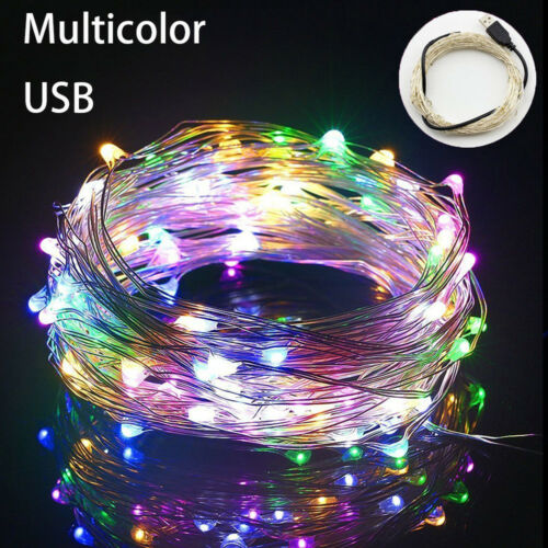 10M USB 100 LEDs Copper Wire String Fairy Lights Strip Lamp Xmas Party Decor aa