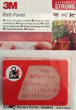3M 2 Stück Klett-Power Klett-Pads EXTREMLY STRONG transparent 25,4 mm x 76,2 mm