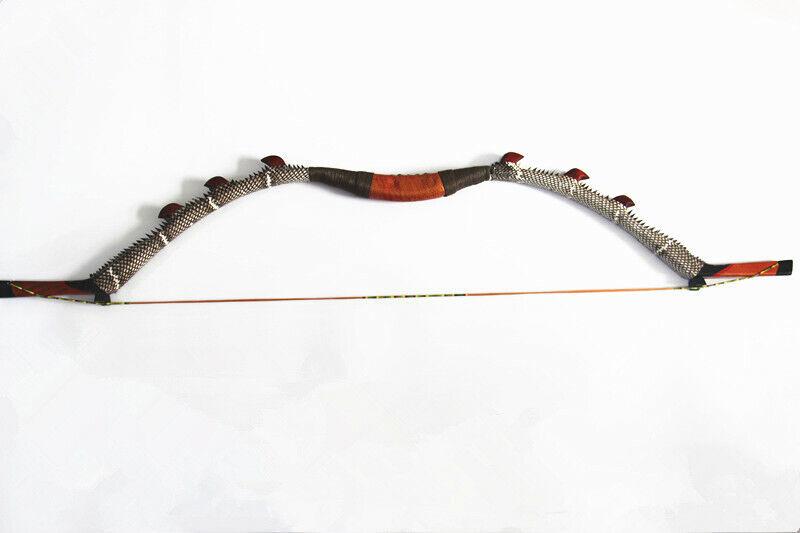 30-60lb Hecho a Mano Tradicional Recurvo Arco simular Piel De Serpiente Mongol Arco