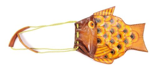 Handmade Leather Gold Asian Carp Fish Shoulder Str