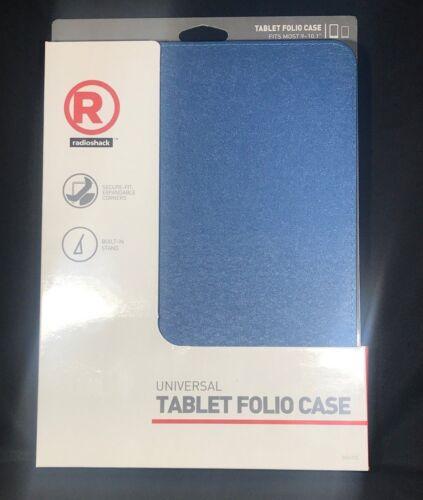 "New RadioShack® Universal Tablet Folio Case 9-10/"" Blue Built-in Stand"