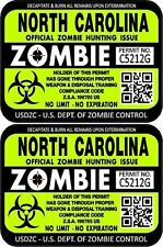 Prosticker 1243 Two 3x 4 North Carolina Zombie Hunting License Decal Sticker