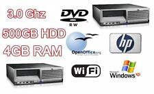 VELOCE Potente HP desktop TOWER PC 3,00 Ghz & 500 GB HD & 4 GB di RAM DVD-RW & WIFI