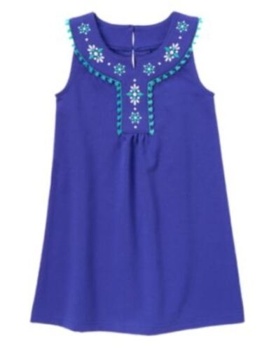 GYMBOREE SPARKLE SAFARI BLUE EMBROIDERY PONTE DRESS 4 5 6 7 8 NWT