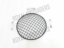 """NEW ROYAL ENFIELD UNIVERSAL 7/"""" BLACK PAINTED HEADLIGHT GRILL WITH CLAMP code107"""