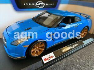 1-18-Maisto-escala-Nissan-GTR-R35-Azul-Diecast-Modelo-Coche