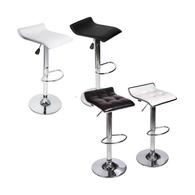 Set of 2 Bar Stool Leather Modern Hydraulic Swivel Dinning Chair Pub Pair Stools