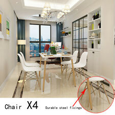 4x Retro Replica Eames Eiffel DSW Dining Chair Cafe Kitchen ABS Beech WHITE