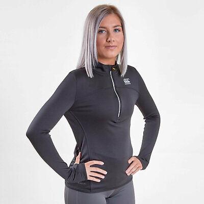 Canterbury Womens Vapodri Ladies Poly 1/4 Zip Training Top Black Activewear