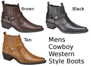 98fd0e7d396f Image is loading Mens-Cowboy-Boots-Western-Style-Ankle-Black-Brown-