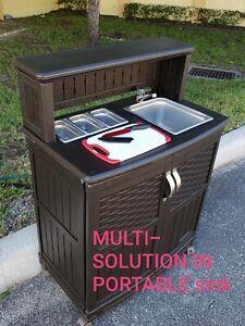 Outdoor Sink Station Portable Rolling Drop Leaf Kitchen Storage Island Cart Ebay