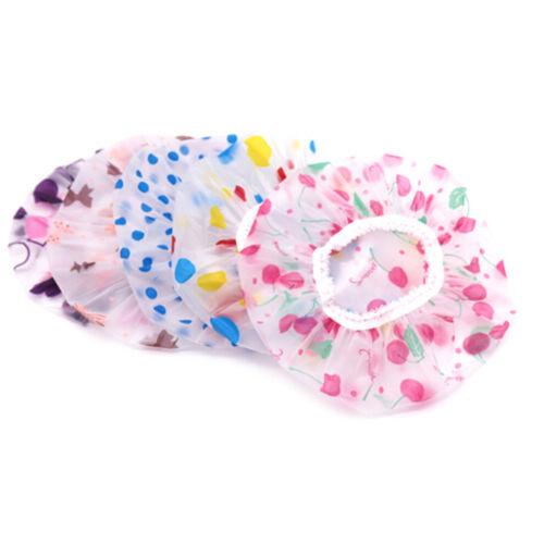 2 Pc Kids Children Shower Cap Waterproof Elastic Bath Hat Cleaning Hat Cute/_DM