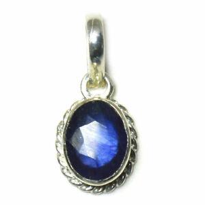 Echte-blaue-Saphir-925-Sterling-Silber-Anhanger-5-Karat-Charm-Halskette-Schmuck