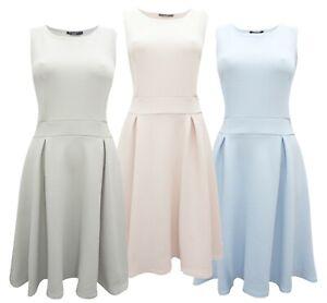Marina-Kaneva-Jersey-Stretch-Blue-Pink-Grey-Pleated-Sleeveless-Fit-amp-Flare-Dress