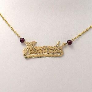 14k gold amanda nameplate necklace with garnet beads new sz 18 ebay image is loading 14k gold amanda nameplate necklace with garnet beads aloadofball Images