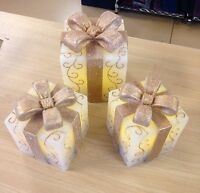 Valerie Parr Hill Cream & Gold Set Of 3 Wax Gifts W/ Bows -