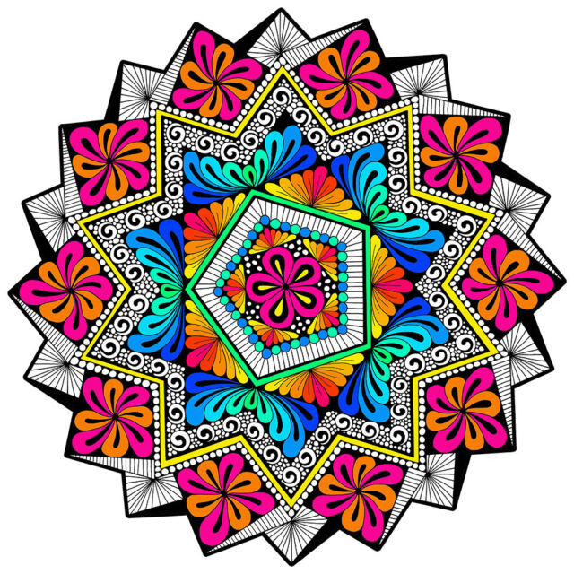 Harmony Mandala - Large 20x20 Inch Fuzzy Velvet Coloring Poster for ...