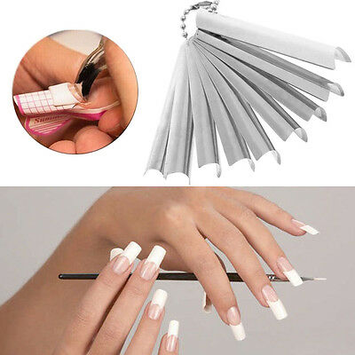 9Sizes Metal Nail Builder Cutter Edge Smile Line Trimmer Template Manicure Tools