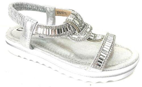 Girls Kids Flat Diamante Summer Sandals Size UK Child 10-2