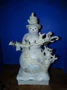 "Jim Shore Heartwood Creek White Woodland Snowman Statue — 17/"" x 12/"" x 9.5/"""