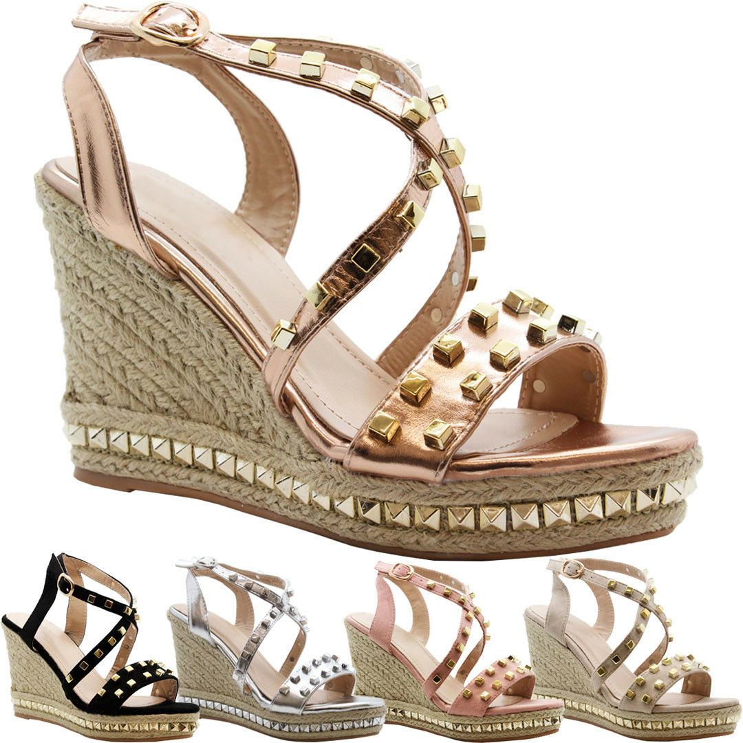 Ladies Womens High Wedge Strappy Studded Espadrilles Platform Sandals Shoes Size