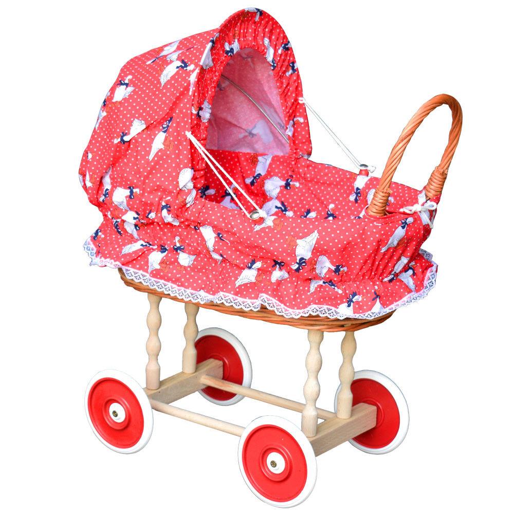 Puppenwagen aus Weide Holz Weidenwagen Kinderwagen Weidenpuppenwagen PRG