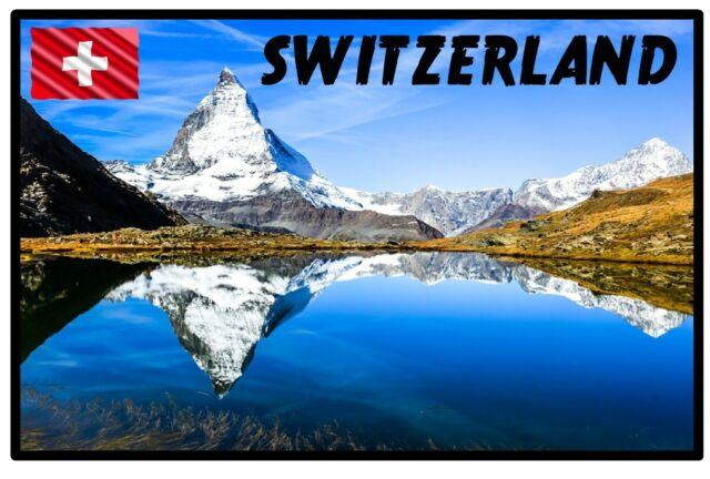 Suiza - Recuerdo de Novedad Imán de Nevera - Monumentos/ Bandera/ Nuevo /