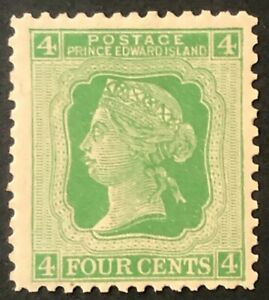 PRINCE EDWARD ISLAND 1872 # 14 'CENTS' ISSUE - 4 cents GREEN - MLH VF
