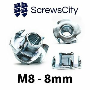 M8 x 8mm Four Pronged Tee Nuts Captive Blind Inserts 200pcs for Wood Furniture