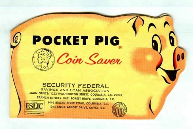 Vintage 1960s POCKET PIG Coin Saver Bank! Security Federal Savings & Loan!