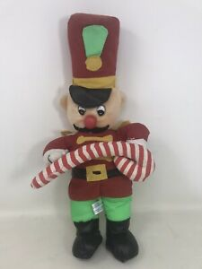 "Toy Network Vintage Plush Toy Soldier 17""  Christmas Nutcracker Candy Cane Used"