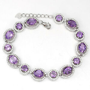 REAL-PURPLE-AMETHYST-with-W-CZ-accent-14K-ON-925-SILVER-TENNIS-BRACELET-7-034-8-034