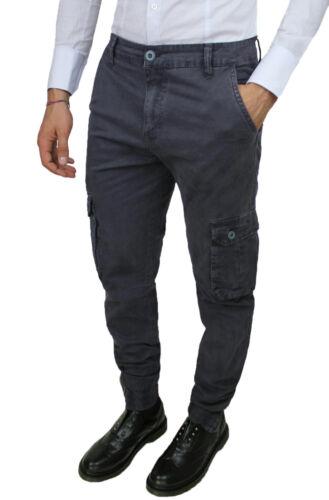 Slim denim con grigio Fit tasche Cargo da uomo laterali scuro Pantaloni aderente 7XfwtOqWxn